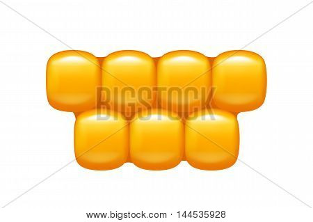 illustration of gold vector corn cells isolated on whte background