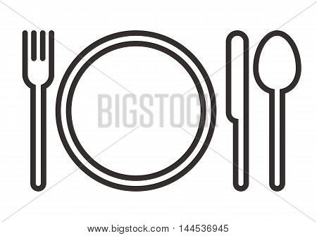Plate fork knife and spoon sign isolated on white background