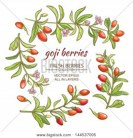 goji berries vector set on white background