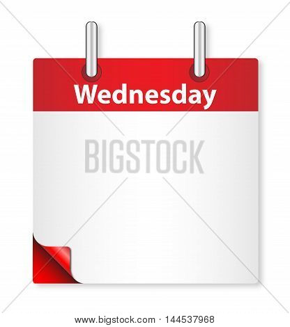 A calender date offering a blank Wednesday page over white