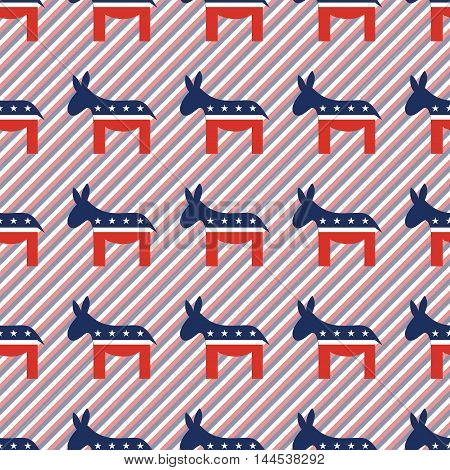Democrat Donkeys Seamless Pattern On Red And Blue Stripes Background. Usa Presidential Elections Pat