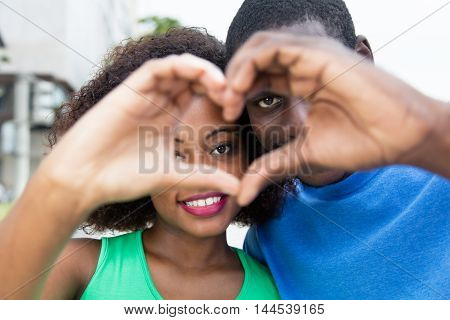 Beautiful african american couple in love outdoor