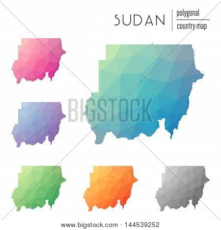 Set Of Vector Polygonal Sudan Maps. Bright Gradient Map Of Country In Low Poly Style. Multicolored S