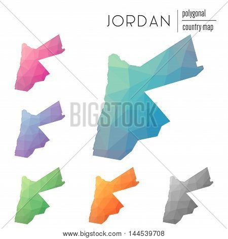 Set Of Vector Polygonal Jordan Maps. Bright Gradient Map Of Country In Low Poly Style. Multicolored