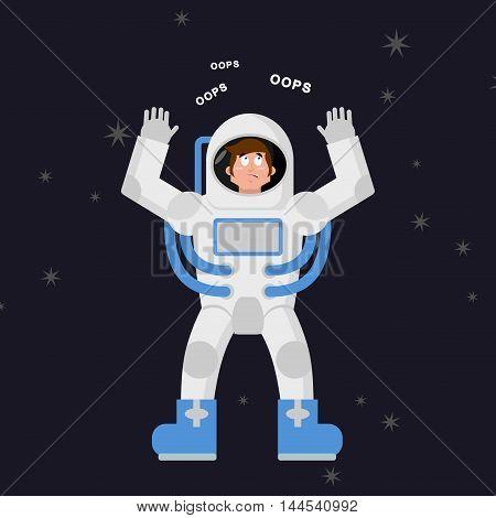 Surprised Astronaut Says Oops. Perplexed Cosmonaut In Dark Space