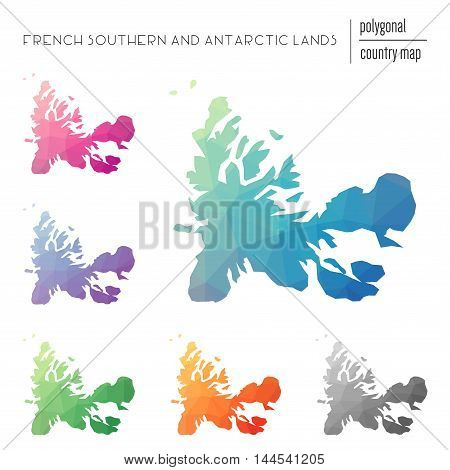 Set Of Vector Polygonal French Southern Territories Maps. Bright Gradient Map Of Country In Low Poly