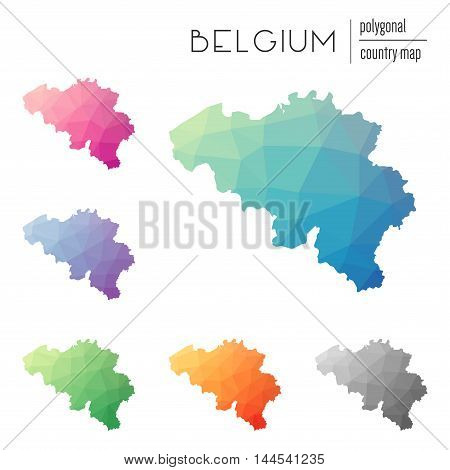 Set Of Vector Polygonal Belgium Maps. Bright Gradient Map Of Country In Low Poly Style. Multicolored