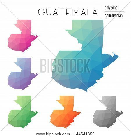 Set Of Vector Polygonal Guatemala Maps. Bright Gradient Map Of Country In Low Poly Style. Multicolor