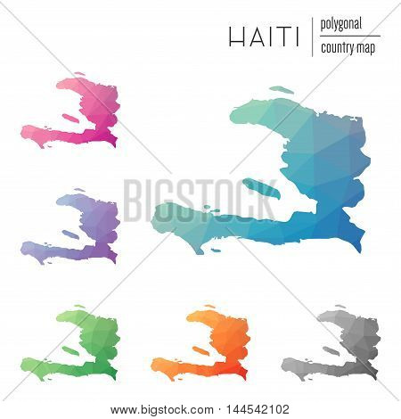 Set Of Vector Polygonal Haiti Maps. Bright Gradient Map Of Country In Low Poly Style. Multicolored H