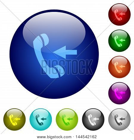 Set of color incoming call glass web buttons.