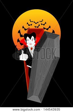 Dracula In Coffin Thumbs Up Shows Well. Vampire Winks. Sign All Right. Jolly Good Ghoul. Mimicry Smi