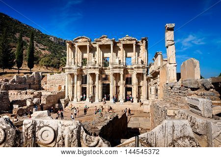 EPHESUS TURKEY - SEPTEMBER 30 2014: Library of Celsus in Efes after the partial reconstruction