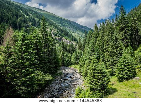 creek next to Transfagarasan Road in southern section of Carpathian Mountains in Romania