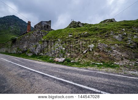 Transfagarasan Road in southern section of Carpathian Mountains in Romania