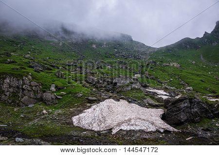 View near Balea Lake area next to Transfagarasan Road in southern section of Carpathian Mountains in Romania