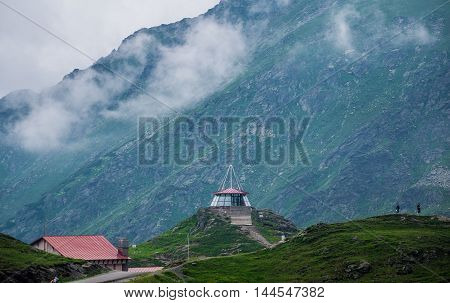 observation shelter at Balea Lake area next to Transfagarasan Road in southern section of Carpathian Mountains in Romania