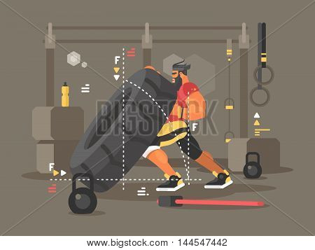 Crossfit workout flat. Strong and power man lifts tire. Vector illustration