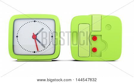 Green Alarm Clock With The Two Sides Isolated On White Background. 3D Rendering