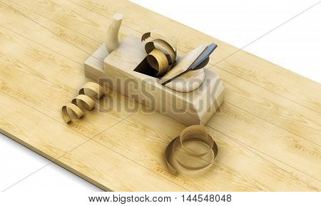 Wooden Plane, Board And Shavings Isolated On A White Background. 3D Rendering