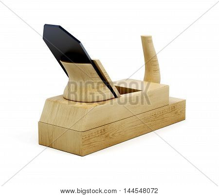 Wood Plane Tool Isolated On White Background. 3D Illustration
