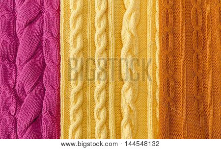 Yellow;Pink and Mustard-Yellow Knitted Items with Braids and Pattern.Hand Made;Fancywork.Background poster