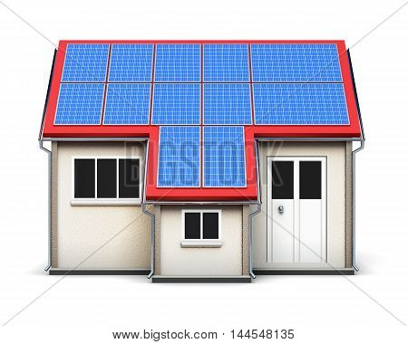 House With Solar Batteries On The Roof Isolated On White Background. 3D Rendering