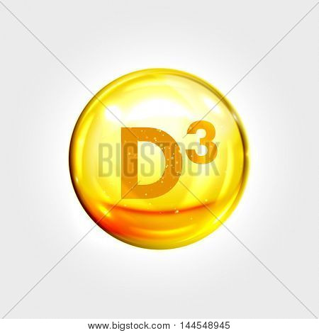 Vitamin D3 gold icon. Cholecalciferol vitamin drop pill capsule. Shining golden essence droplet. Beauty treatment nutrition skin care design. Vector illustration.