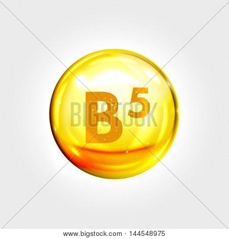Vitamin B5 gold icon. Pantothenic acid vitamin drop pill capsule. Shining golden essence droplet. Beauty treatment nutrition skin care design. Vector illustration. poster