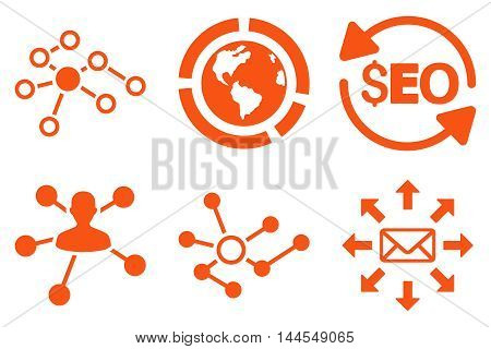 Seo Link Building vector icons. Pictogram style is orange flat icons with rounded angles on a white background.