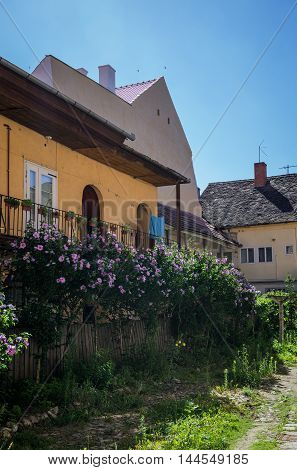 Courtyard of house in Sibiu city in Romania poster