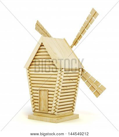 Wooden Windmill Back View Isolated On White Background. 3D Render Image