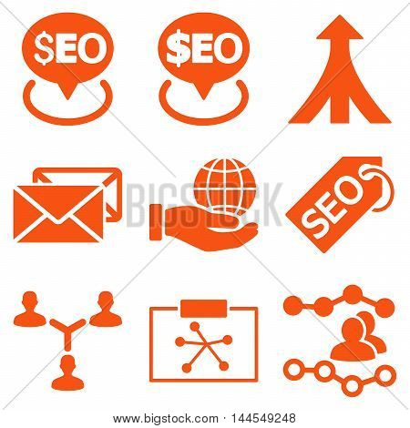Seo vector icons. Pictogram style is orange flat icons with rounded angles on a white background.