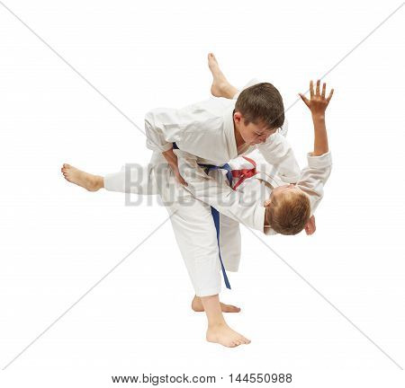 Children on a white background are doing throws