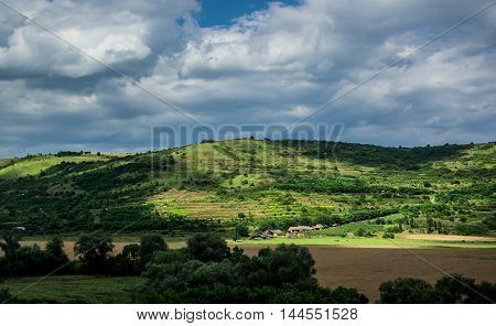 Aerial view from the road in Carpathian Mountains in Transylvania poster