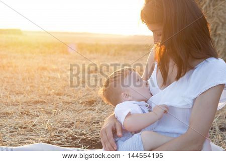 Beautiful happy mother breastfeeding her baby boy outdoor. Mother breastfeeding in a field at sunset in nature. Healthy eating. poster