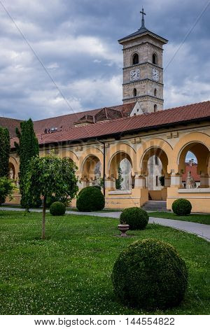 Tower of St. Michael's Cathedral in Citadel of Alba Iulia city in Romania poster