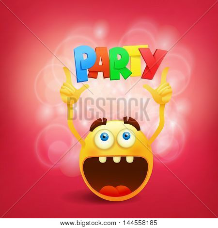 Round yellow smiley face with party title. Vector illustration