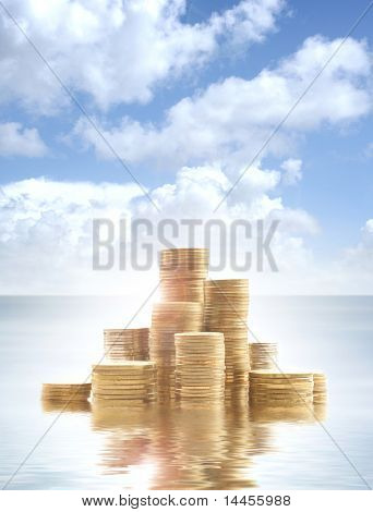 Money over abstract heaven and sea background (Warning! This is not realistic water and sky. Picture also have unreal view and over-filtered colors)