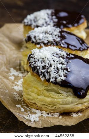 Danish Puff Pastry Stuffed Doughnuts With Coconut Cream And Chocolate Puff Bites Sprinkled With Desi