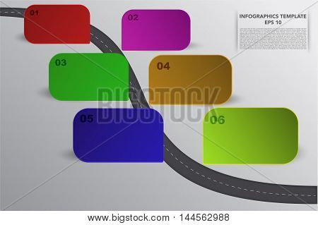 Six steps timeline infographics with 3D rectagle objects in various colors and own shadows. 6 steps business infographic with curvy road 6 3d banners and hand drawn lines on grey gradient backdrop.