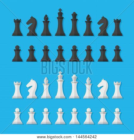 Set black and white chess pieces isolated on blue background. Chess pieces including the king, queen, bishop, knight, rook and pawn in flat style.