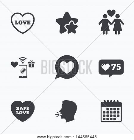 Lesbians couple sign. Speech bubble with heart icon. Female love female. Heart symbol. Flat talking head, calendar icons. Stars, like counter icons. Vector