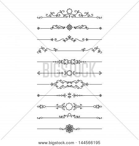 Vintage filigree dividers set isolated on white. Calligraphic design elements.