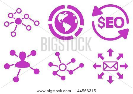 Seo Link Building vector icons. Pictogram style is violet flat icons with rounded angles on a white background.