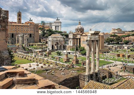 Look at the Forum in Rome in the summer, Italy, Europe