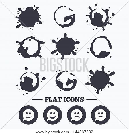 Paint, coffee or milk splash blots. Speech bubble smile face icons. Happy, sad, cry signs. Happy smiley chat symbol. Sadness depression and crying signs. Smudges splashes drops. Vector