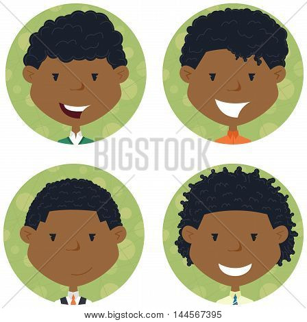 African american school boys avatar collection. Vector portraits of classmates. Cute student icon set.