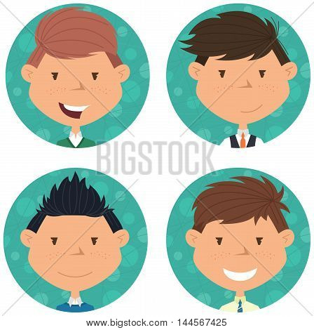 School boys avatar collection. Vector portraits of classmates. Cute student icon set.