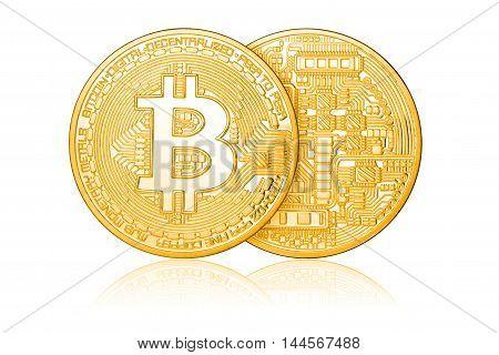Golden Bitcoin Isolated