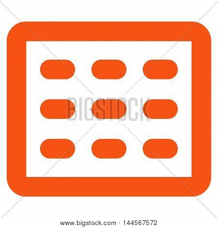 Table Grid vector icon. Style is contour flat icon symbol, orange color, white background.
